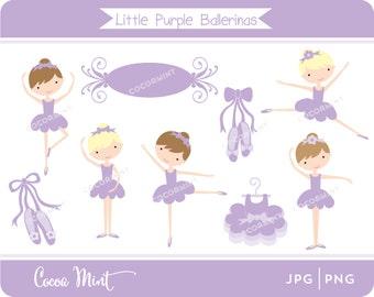 Little Purple Ballerinas Clip Art