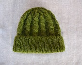 Alpaca Hat Knit Cabled Watchcap in Moss Green