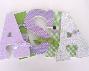 Girl Baby Name Letters - Green and Lavender - Custom Wooden Hanging Letters