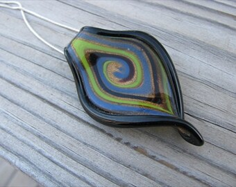 SALE- Black Necklace- Twisted Leaf Necklace