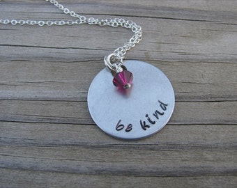 "Inspiration Necklace- ""be kind"" with an accent bead in your choice of colors- Hand-Stamped Jewelry"
