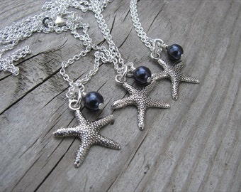 Three Bridesmaids Necklaces- (3) necklaces- Silver Starfish Necklaces- with an accent bead in your choice of colors- set of 3