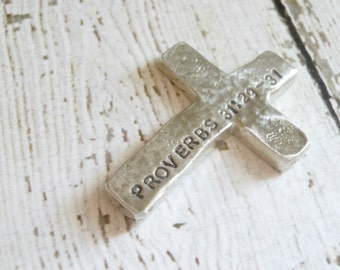 Personalized Pocket Cross - Hand Stamped with your choice of Bible verse - Hand Cast Pewter