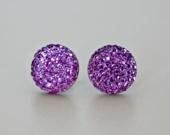 Titanium Post Earrings, Purple Pave Rhinestone 14mm, Hypoallergenic