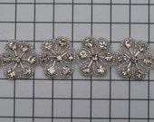 Crystal Beaded Flower Trim, Bridal Trims, Beaded Trims,  Beaded Applique,  Bridal Applique