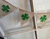 Shamrock  Mini Burlap Banner Bunting Garland Pennant St Patricks Day Green Irish Decoration