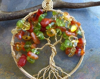 Autumn Tree of Life Pendant- Peridot/Carnelian,Amber,Citrine Tree Life Necklace-Wire Wrapped Tree of Life Necklace,Fall/Autumn Tree of Life