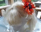 Orange Flower with Glitter Spider Hair Barrette, Halloween Accessory