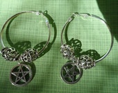 Pentacle Hoop Charm Earrings