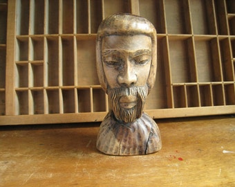 Carved Wood Bust Wooden Statue of Man Folk Art by Peter Nish Jamaica West Indies