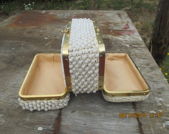 1960's double compartment raffia and plastic bead Box Handbag
