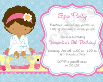 Spa Party Invitation Spa Birthday Party Invitation invite Spa Invitation Spa Day Pamper Party - Choose your girl