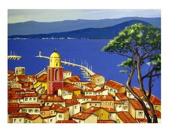 SAINT-TROPEZ, the Bay, Mediterranean Blue,Roof tiles,Village south France,Original illustration Artist Print Wall Art, Free Shipping in USA.
