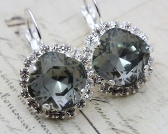 Bridesmaids Earrings Gray Earrings Set of 3 Pairs Black Diamond Earrings Bridal Party Gift Silver Swarovski Also Avail As Clip On Earrings