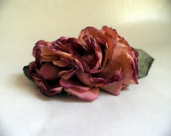 vintage Hair Barrette with silk Roses, dusty rose