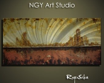 """NGY 35.5"""" x 17"""" Modern Contemporary Abstract Metal Wall Sculpture Art"""