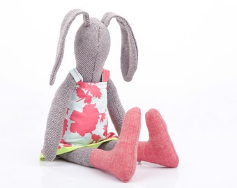Plush brown woven stuffed rabbit doll ,handmade girl bunny doll ,wearing pink azure floral dress & socks , modern baby eco fabric doll