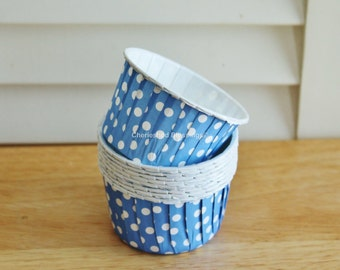 20 Cupcake Liners, Baking Cups, Nut Cups, Blue Polka Dots Kids Birthday Party Baby Shower Wedding Candy Nut Paper Goods Dips Set of 20