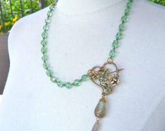 Statement Necklace, Reclaimed Vintage Enamel Flower, Heart, Brooch, Vintage, Rosary, Chain, Green, Crystal, Jennifer Jones, OOAK - Love Song