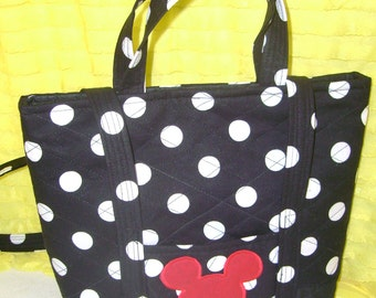 Boutique Purse Quilted Double Handle Black and White Dot Mickey with appliqued Mickey Ears