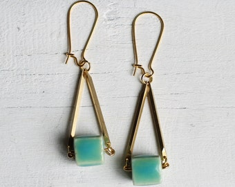 Turquoise Neon Earrings ... Geometric Aqua Seafoam Block