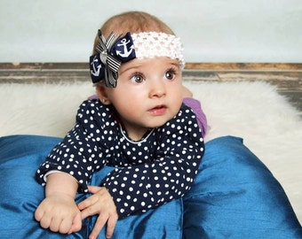 Olivia Paige - Little Pin up Sailor anchor bow  infant/toddler headband