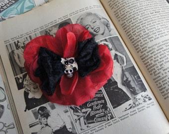 Olivia Paige -  Rockabilly Pin up sugar  skull skeleton flower hair clip