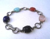 Sale 25% Off Use Coupon Code SAVE25 // Bracelet Egyptian Revival Glass Scarab Vintage 30s