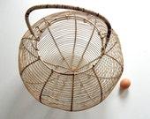 RESERVED FOR AMANDA Enormous French Handmade Antique Egg Gathering Basket