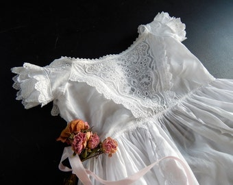 Ayrshire Handmade Antique Christening Gown Elegant with Exceptional Embroidery
