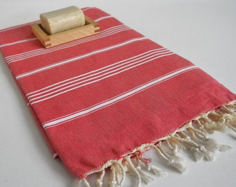 SALE 50 OFF/ Turkish Beach Bath Towel / Classic Peshtemal / Red / Wedding Gift, Spa, Swim, Pool Towels and Pareo