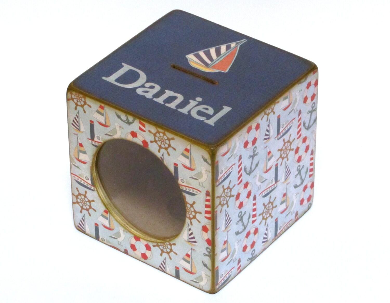 Wood coin bank box childs piggy bank with window nautical - Nautical piggy bank ...