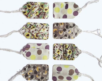 "16 Assorted Gray, White & Yellow Patterns Recycled Paper Gift Tags 1 1/2"" x 15/16"" 65lb Repurposed Cardstock Paper"