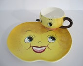 Vintage Snack Plate Cup Anthropomorphic PY Yellow Lemon Fruit Face Japan Cute Kitsch