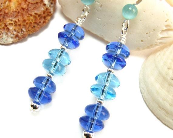 Blue Aquamarine Sapphire Glass Beaded Dangle Earrings Sterling Silver