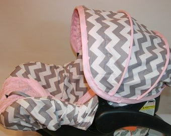 Grey and White Chevron with light pink Minky infant seat COVER - Custom order Always comes with Free reversible strap covers