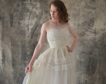 1950s Strapless White Tulle Dress size XS
