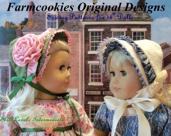 "PDF Sewing Pattern/  Four  Historical Bonnets / Sewing Pattern for American Girl® or Other 18"" Dolls"
