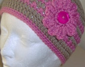Women's  crochet beanie hat for women, teen or girls, fit head size 20 inches to 23 inches around.