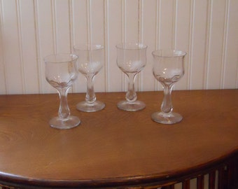 Set of 4 Hollow Stem Cocktail Glasses Beveled Stems