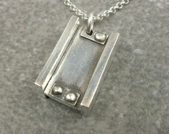I Beam Pendant- Fine Silver Pendant- Industrial Jewelry- Urban Chic- Industrial Necklace- Urban Jewelry- Steel Plate- Rivets- PMC Jewelry