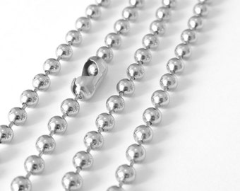 3 Feet Antique Silver Large Ball Chain, 4mm, Necklace Bracelet Unfinished Link, A37-02