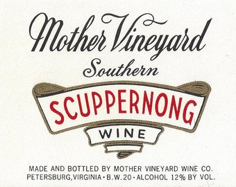 Mother Vineyard Southern Scuppernong Wine Label, 1950s