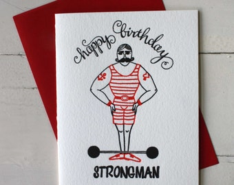 Funny Birthday Card - Strongman - Letterpress Birthday Card - Strongman Birthday Card - Card for Dad - Boyfriend Card - Boyfriend Gift