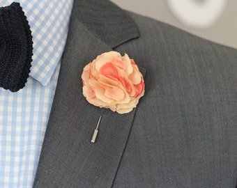 Peach blush Carnation, mens wedding boutonniere, lapel pin stick, hat pin, embellishment, brooch pin, button back, groomsmens lapel pin