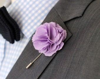 Lavender, lilac mens boutonniere, lapel pin, groomsmen boutonniere, mens lapel flower, wedding boutonniere