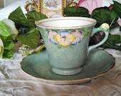 Pretty Vintage James Kent Longton England Purple Lilac Yellow Blue Pansy Flowers Mint Mottle Tea Cup Saucer