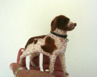 Needle felted English Pointer/Needle Felted Dog / Custom Miniature Sculpture of your dog - pet