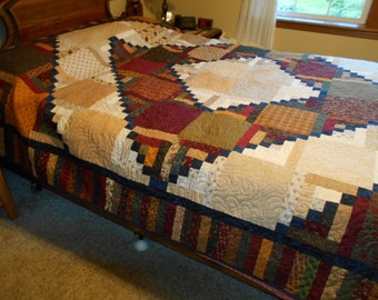 Queen or King Sized Quilt -  Seeds of Time  Log Cabin Patchwork Quilt