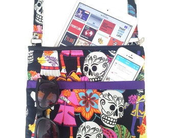 Sugar Skulls Crossbody Bag // Calaveras Sling Bag // Dia De Los Muertos Crossbody Purse